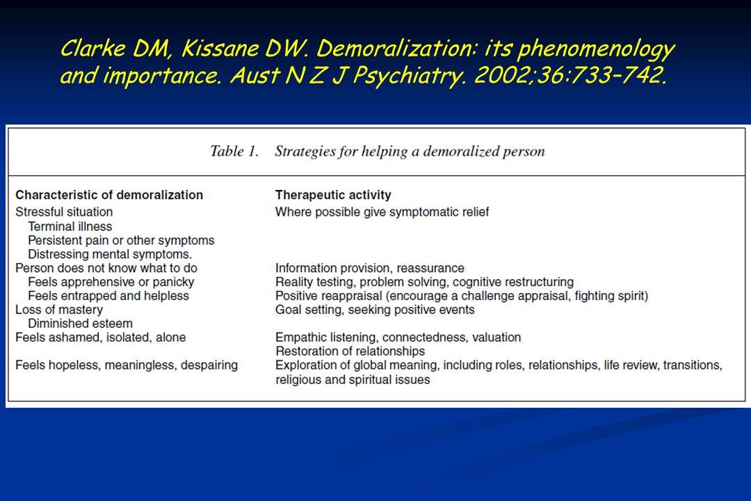 Clarke DM, Kissane DW.Demoralization: its phenomenology and importance.