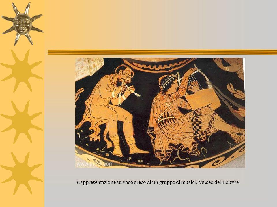Rappresentazione su vaso greco di un gruppo di musici, Museo del Louvre