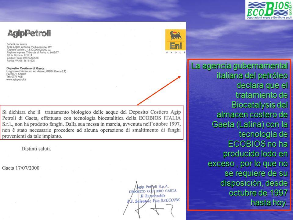 La agencia gubernamental italiana del petróleo declara que el tratamiento de Biocatalysis del almacen costero de Gaeta (Latina) con la tecnología de ECOBIOS no ha producido lodo en exceso , por lo que no se requiere de su disposición, desde octubre de 1997