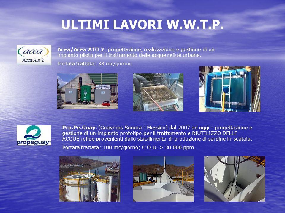 ULTIMI LAVORI W.W.T.P. Acea/Acea ATO 2: progettazione, realizzazione e gestione di un impianto pilota per il trattamento delle acque reflue urbane.