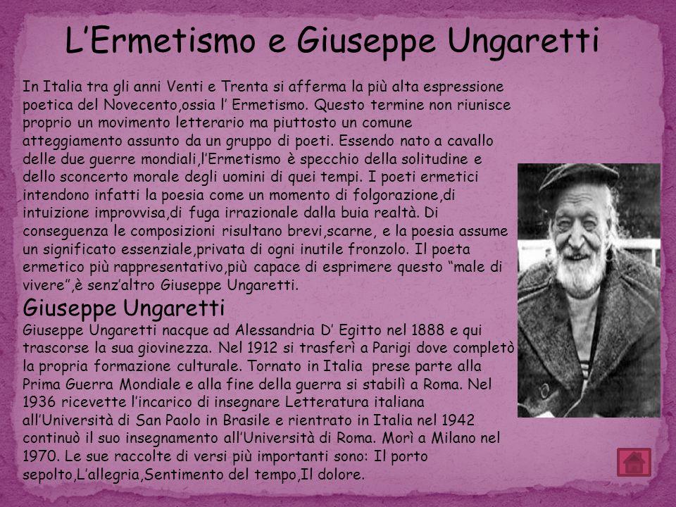 L'Ermetismo e Giuseppe Ungaretti