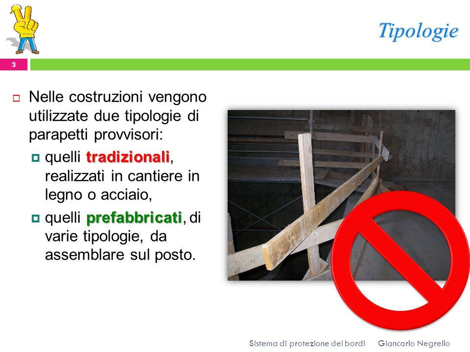 Tipologie Nelle costruzioni vengono utilizzate due tipologie di parapetti provvisori:
