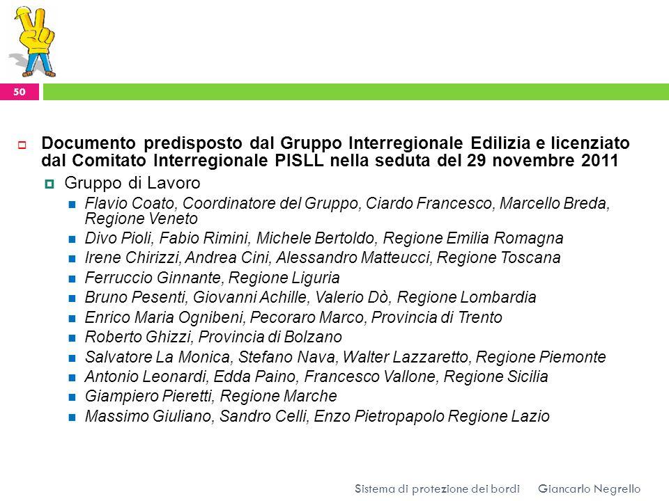 Documento predisposto dal Gruppo Interregionale Edilizia e licenziato dal Comitato Interregionale PISLL nella seduta del 29 novembre 2011