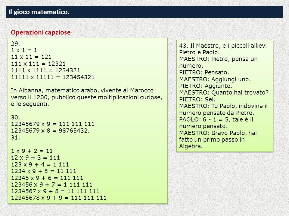 Il gioco matematico. Operazioni capziose