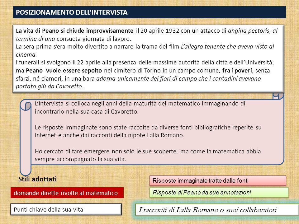 POSIZIONAMENTO DELL'INTERVISTA