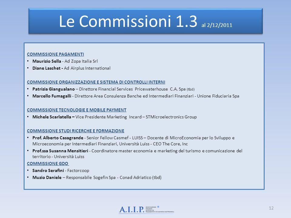 Le Commissioni 1.3 al 2/12/2011 COMMISSIONE PAGAMENTI
