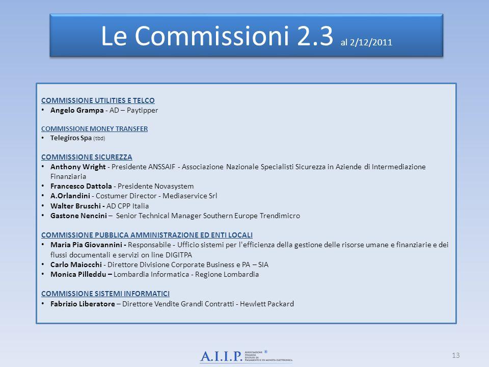 Le Commissioni 2.3 al 2/12/2011 COMMISSIONE UTILITIES E TELCO