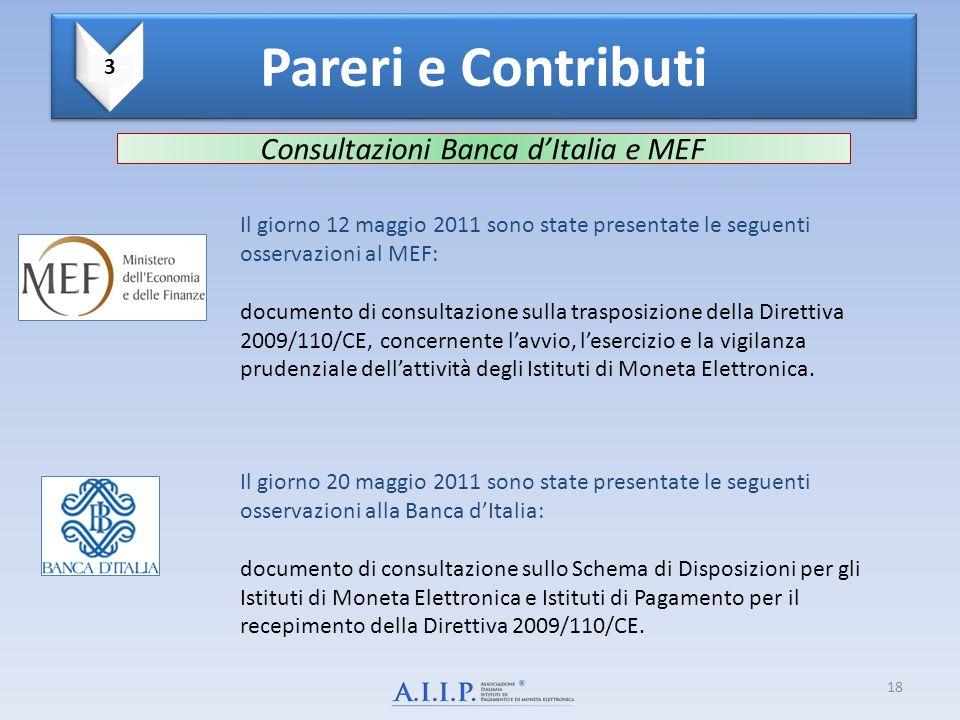 Consultazioni Banca d'Italia e MEF