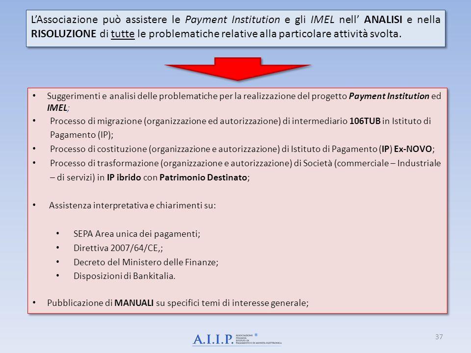 L'Associazione può assistere le Payment Institution e gli IMEL nell' ANALISI e nella RISOLUZIONE di tutte le problematiche relative alla particolare attività svolta.