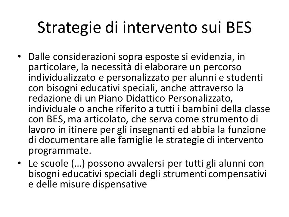 Strategie di intervento sui BES
