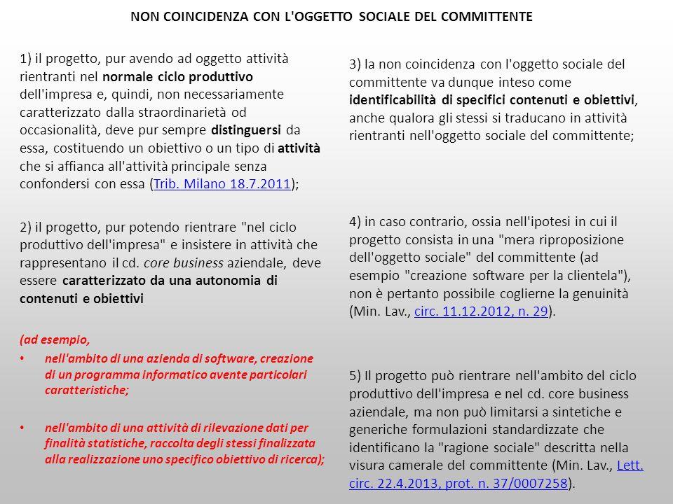 NON COINCIDENZA CON L OGGETTO SOCIALE DEL COMMITTENTE