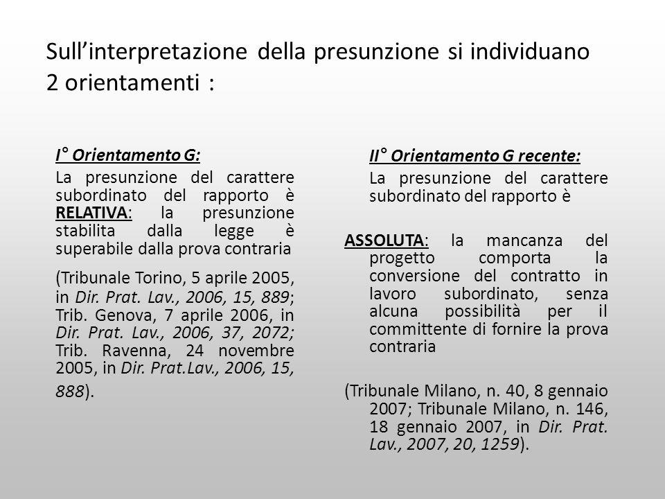Sull'interpretazione della presunzione si individuano 2 orientamenti :