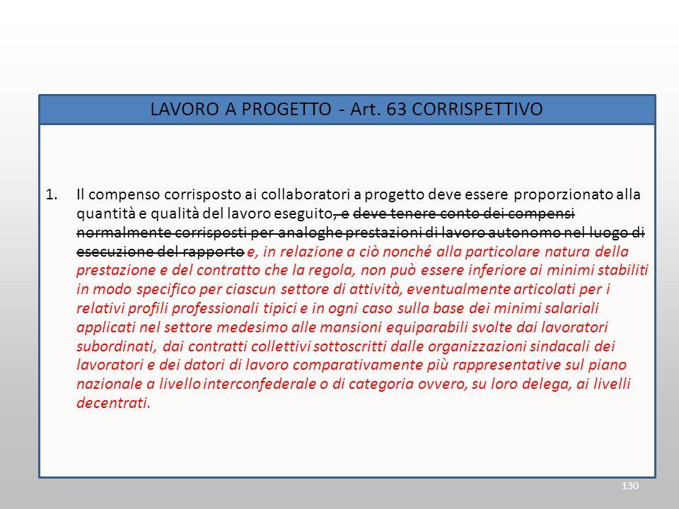LAVORO A PROGETTO - Art. 63 Corrispettivo