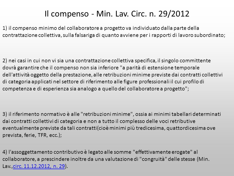 Il compenso - Min. Lav. Circ. n. 29/2012