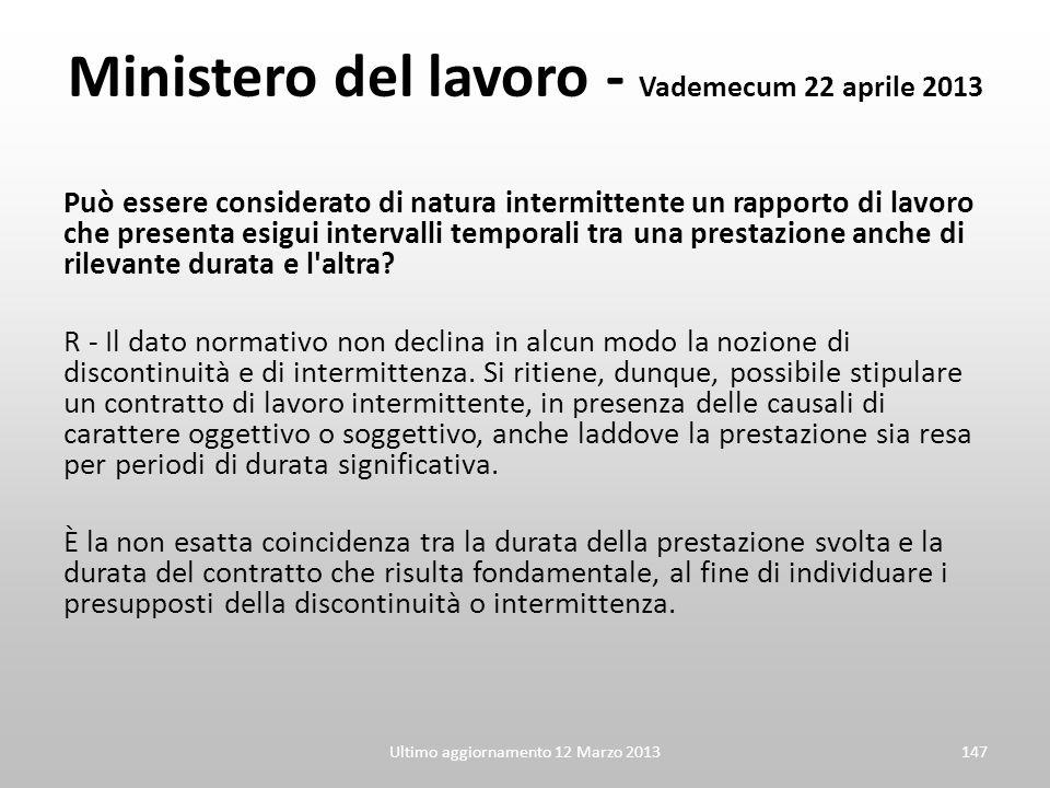 Ministero del lavoro - Vademecum 22 aprile 2013