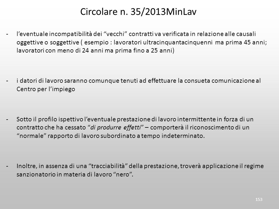 Circolare n. 35/2013MinLav