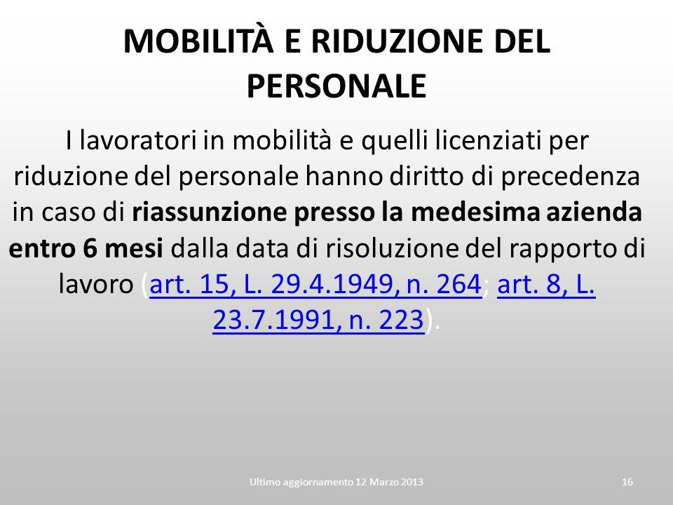 MOBILITÀ E RIDUZIONE DEL PERSONALE