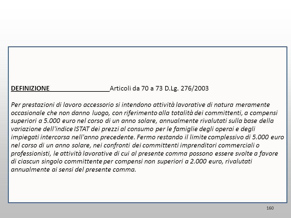 DEFINIZIONE Articoli da 70 a 73 D.Lg. 276/2003