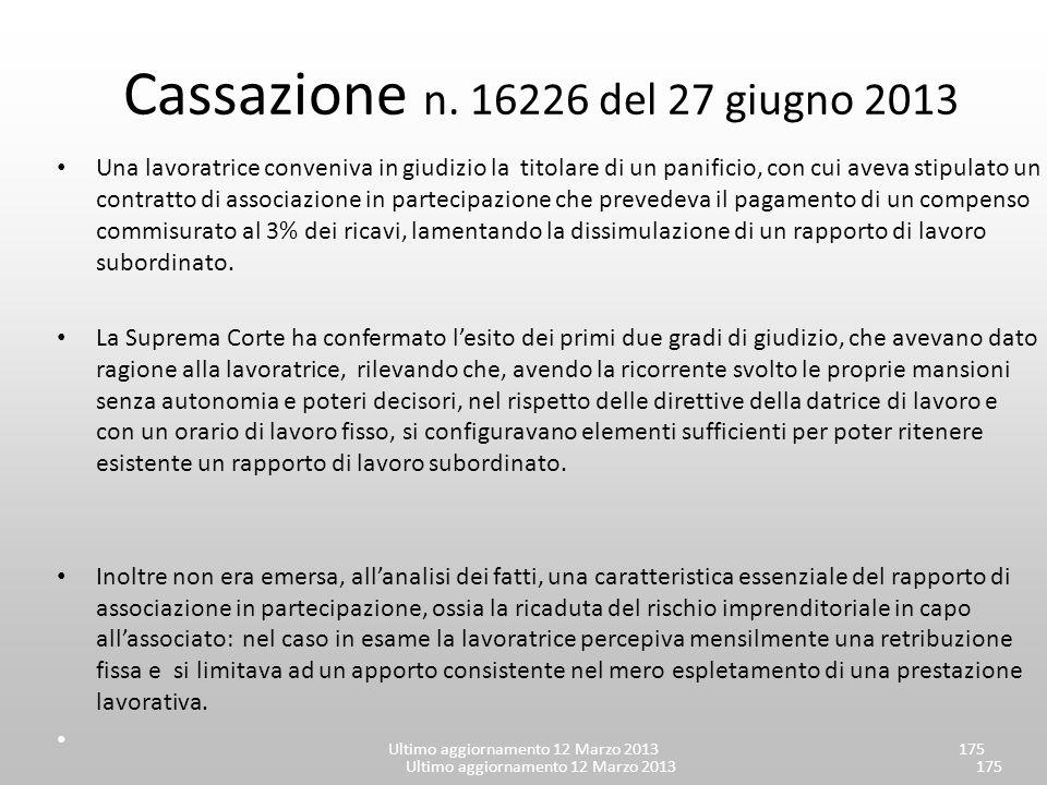 Cassazione n. 16226 del 27 giugno 2013
