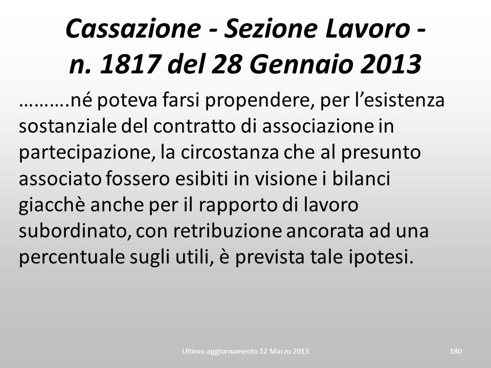 Cassazione - Sezione Lavoro - n. 1817 del 28 Gennaio 2013