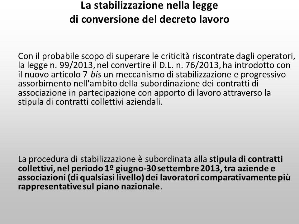 La stabilizzazione nella legge di conversione del decreto lavoro