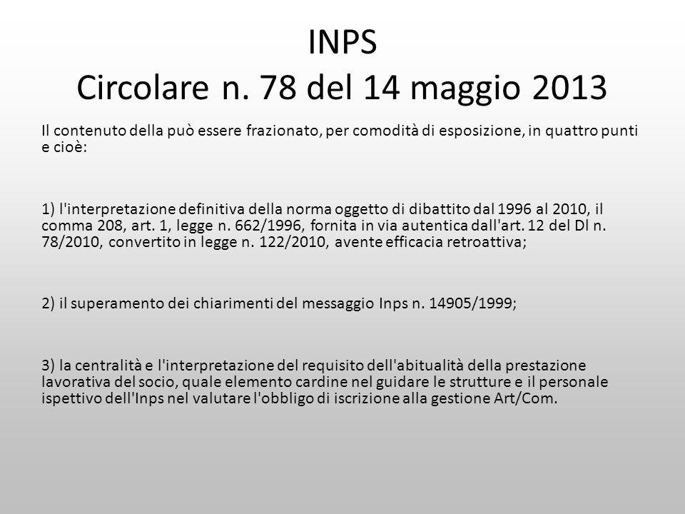 INPS Circolare n. 78 del 14 maggio 2013