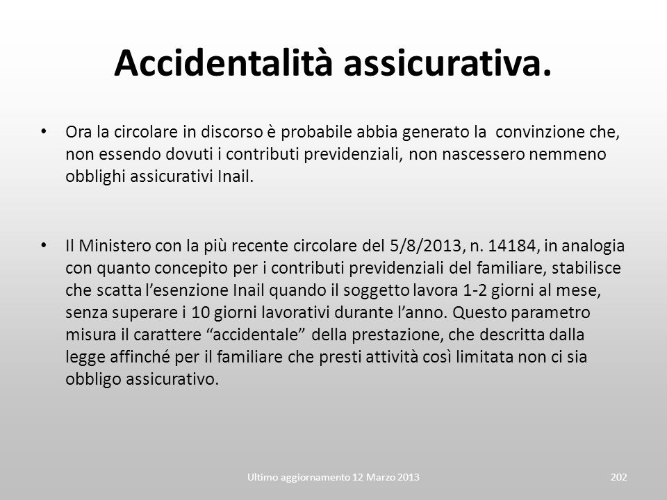 Accidentalità assicurativa.