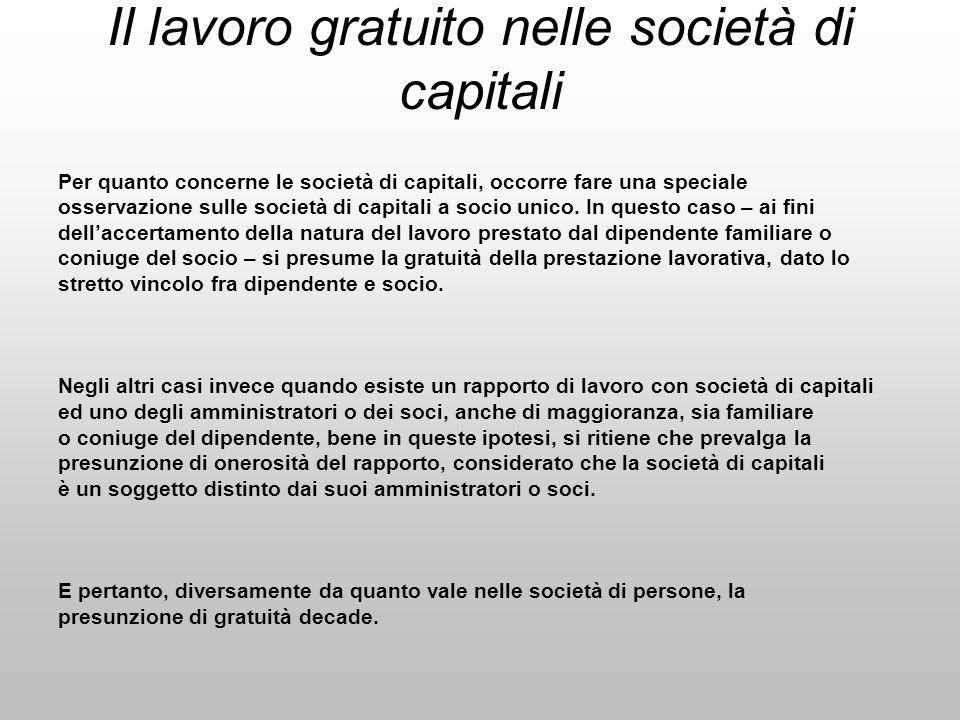 Il lavoro gratuito nelle società di capitali