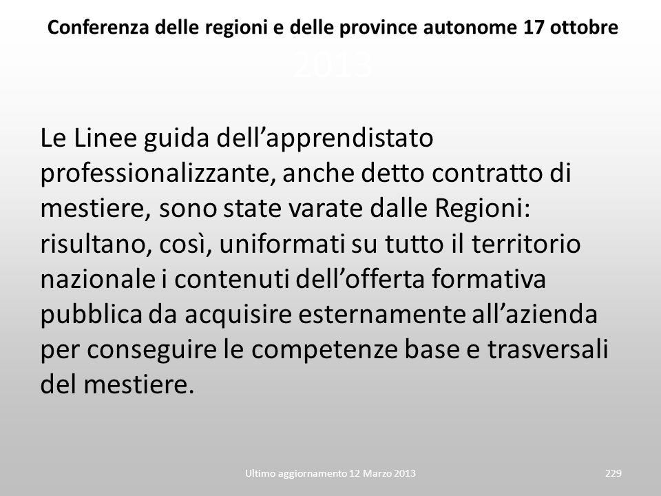 Conferenza delle regioni e delle province autonome 17 ottobre 2013