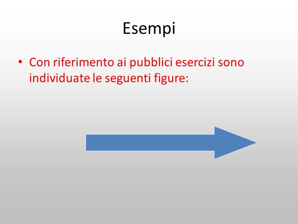 Esempi Con riferimento ai pubblici esercizi sono individuate le seguenti figure: