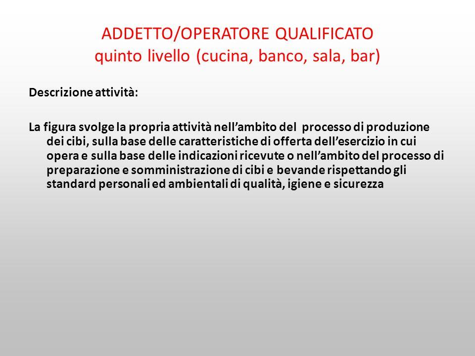 ADDETTO/OPERATORE QUALIFICATO quinto livello (cucina, banco, sala, bar)