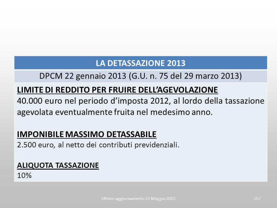 DPCM 22 gennaio 2013 (G.U. n. 75 del 29 marzo 2013)