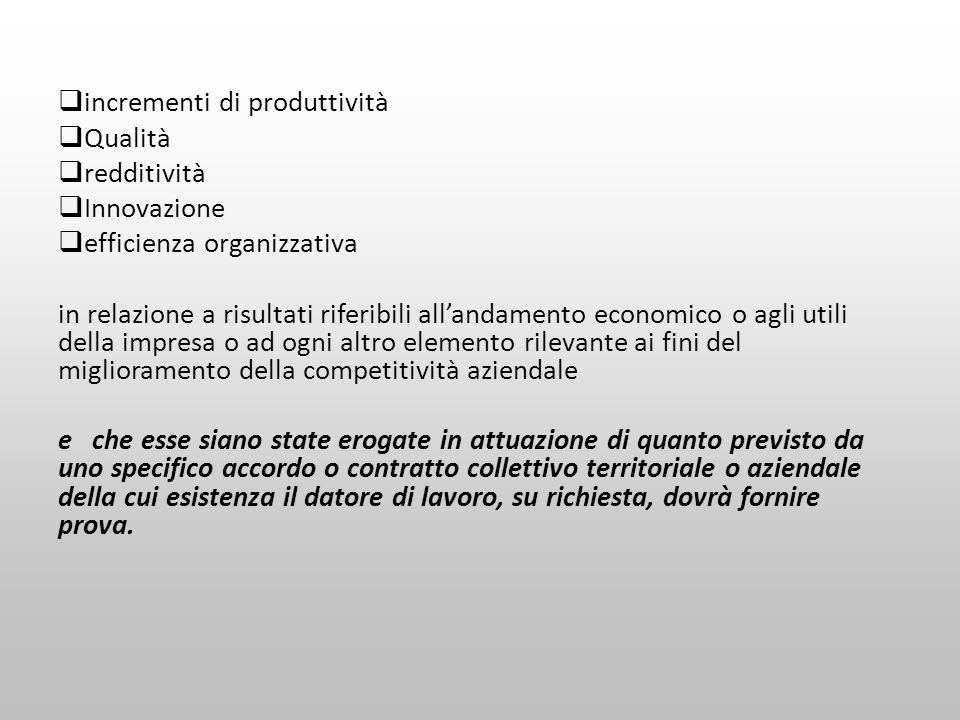 incrementi di produttività