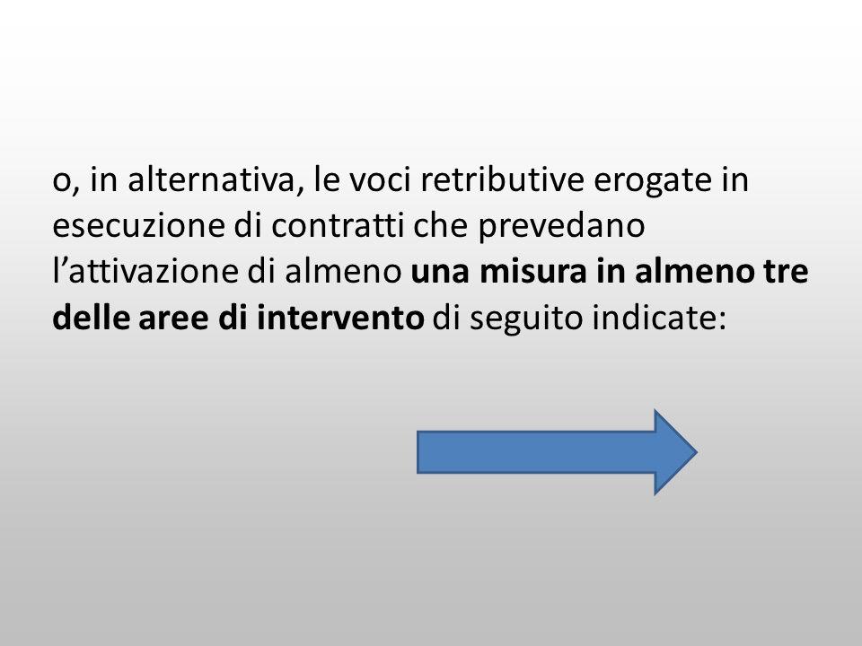 o, in alternativa, le voci retributive erogate in esecuzione di contratti che prevedano l'attivazione di almeno una misura in almeno tre delle aree di intervento di seguito indicate: