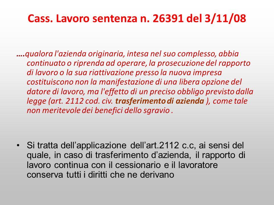 Cass. Lavoro sentenza n. 26391 del 3/11/08