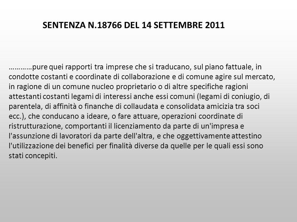 SENTENZA N.18766 DEL 14 SETTEMBRE 2011