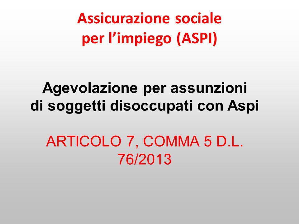 Assicurazione sociale per l'impiego (ASPI)