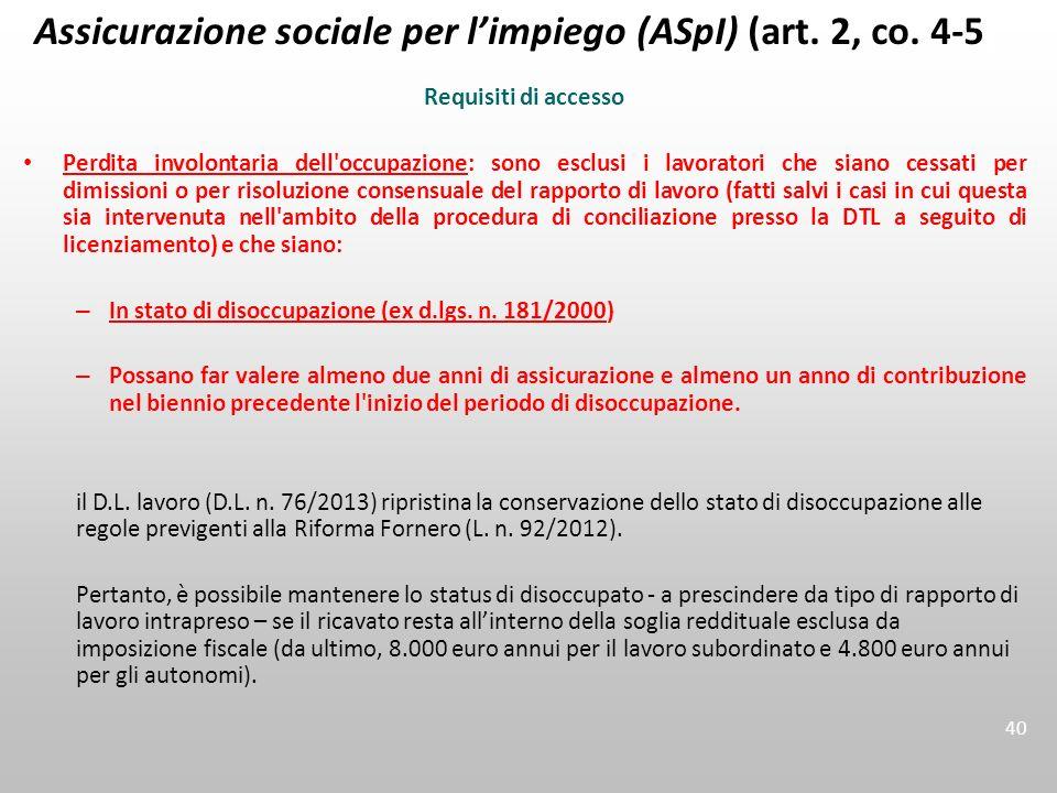 Assicurazione sociale per l'impiego (ASpI) (art. 2, co. 4-5)
