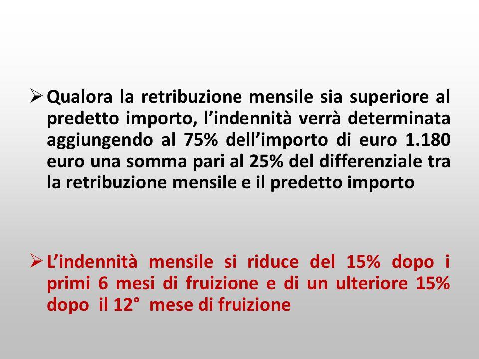 Qualora la retribuzione mensile sia superiore al predetto importo, l'indennità verrà determinata aggiungendo al 75% dell'importo di euro 1.180 euro una somma pari al 25% del differenziale tra la retribuzione mensile e il predetto importo