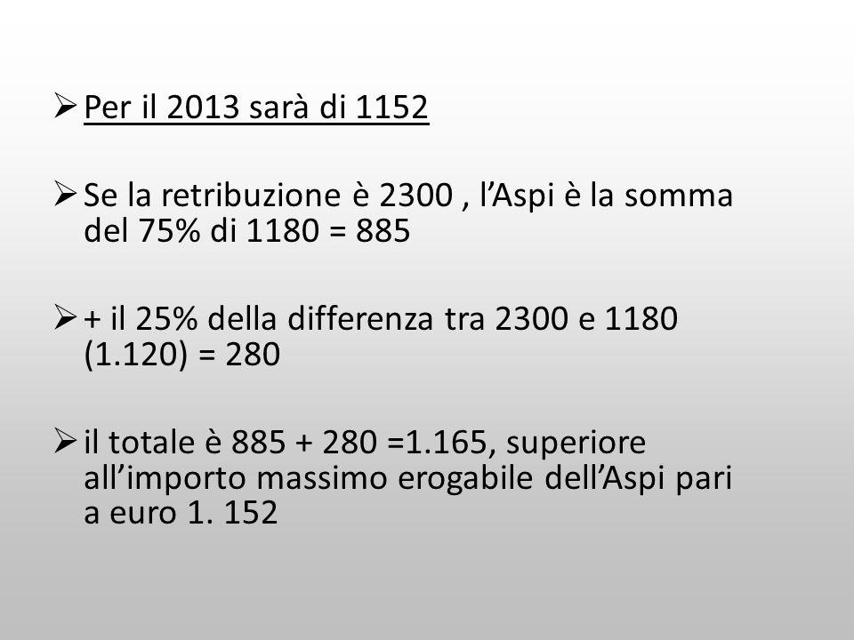 Per il 2013 sarà di 1152Se la retribuzione è 2300 , l'Aspi è la somma del 75% di 1180 = 885. + il 25% della differenza tra 2300 e 1180 (1.120) = 280.