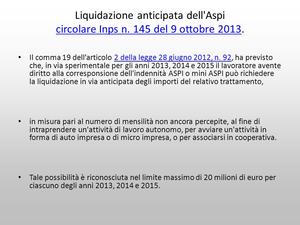 Liquidazione anticipata dell Aspi circolare Inps n