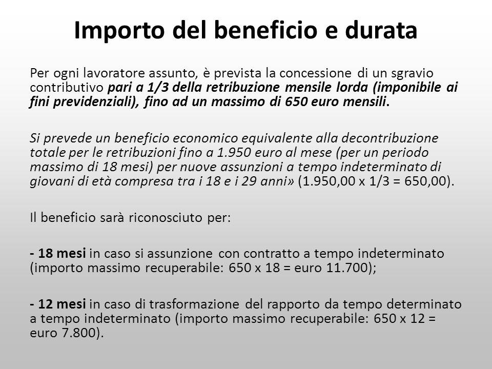 Importo del beneficio e durata