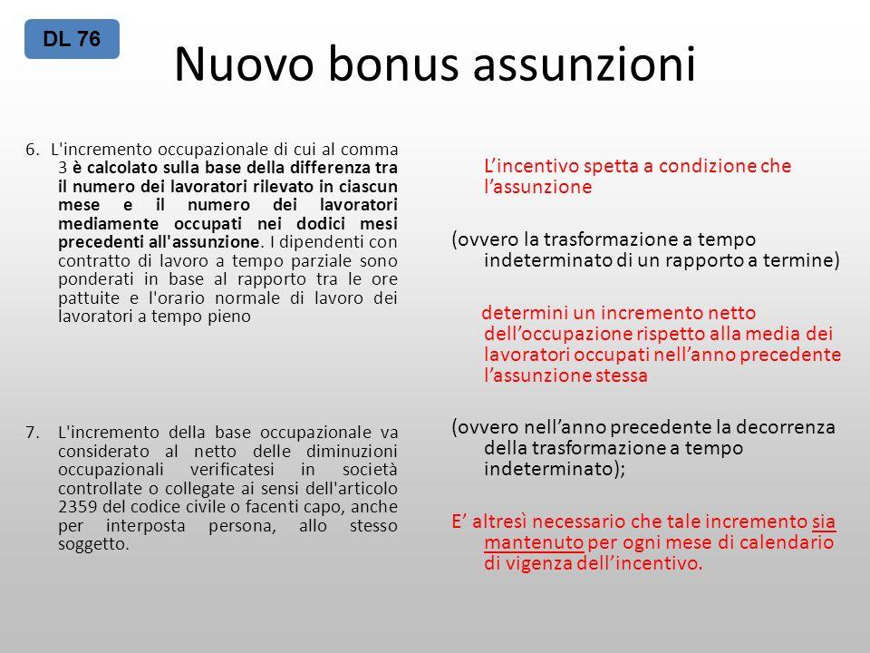 Nuovo bonus assunzioni