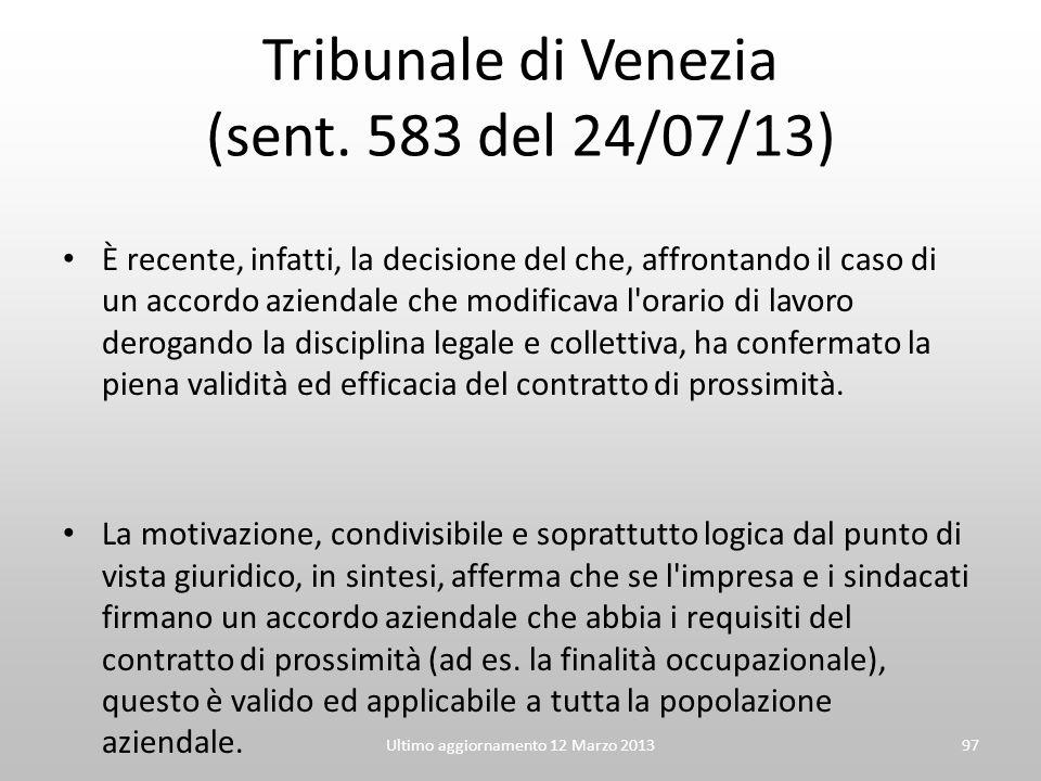 Tribunale di Venezia (sent. 583 del 24/07/13)