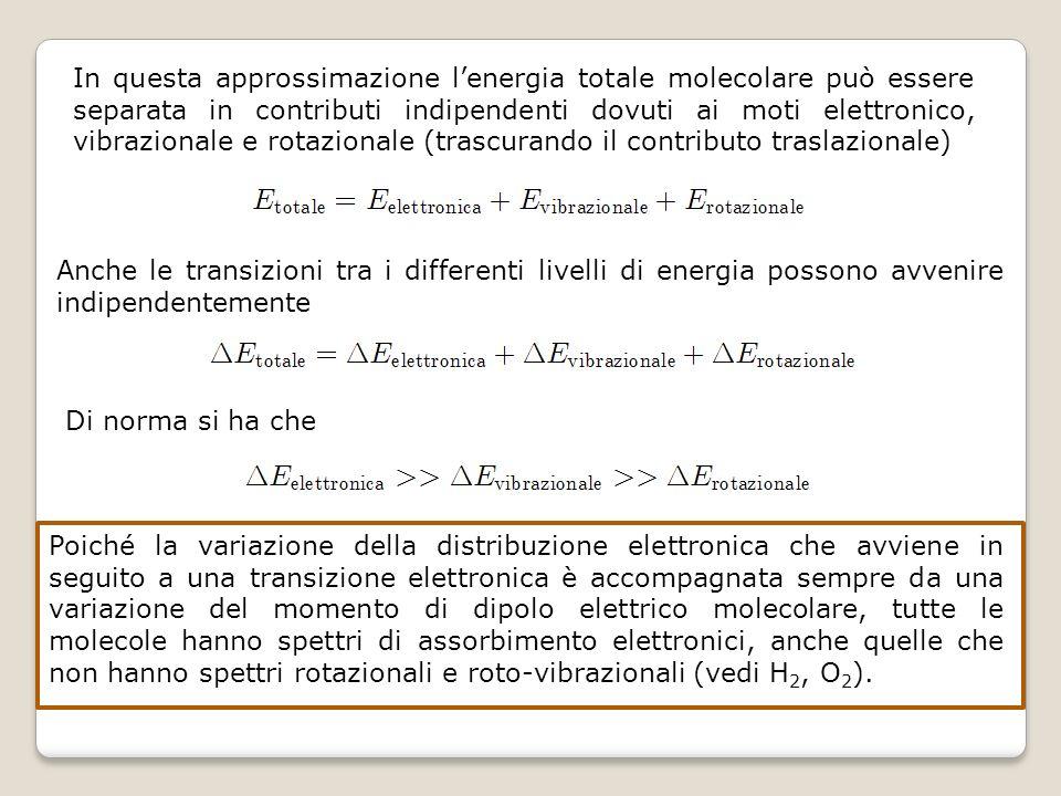 In questa approssimazione l'energia totale molecolare può essere separata in contributi indipendenti dovuti ai moti elettronico, vibrazionale e rotazionale (trascurando il contributo traslazionale)
