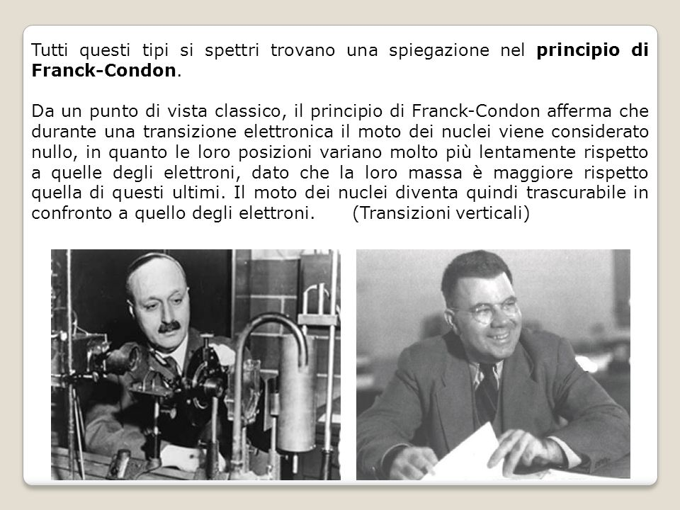 Tutti questi tipi si spettri trovano una spiegazione nel principio di Franck-Condon.