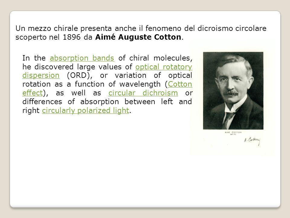 Un mezzo chirale presenta anche il fenomeno del dicroismo circolare scoperto nel 1896 da Aimé Auguste Cotton.