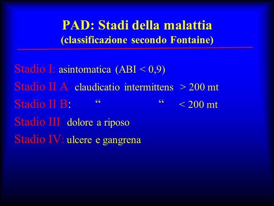 PAD: Stadi della malattia (classificazione secondo Fontaine)