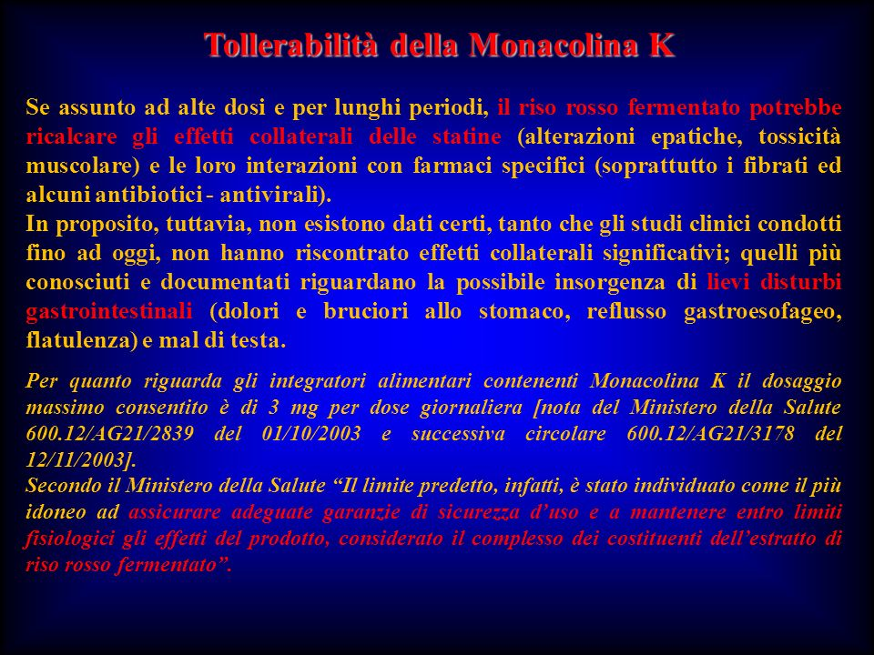 Tollerabilità della Monacolina K