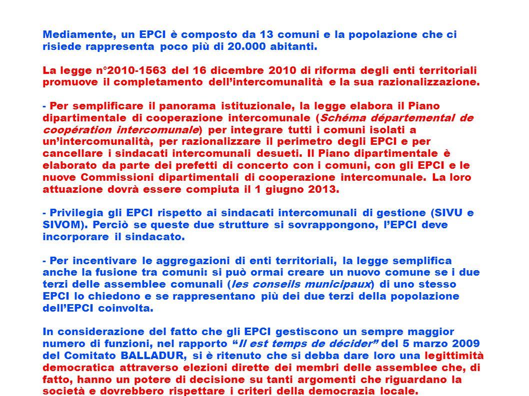 Mediamente, un EPCI è composto da 13 comuni e la popolazione che ci risiede rappresenta poco più di 20.000 abitanti.